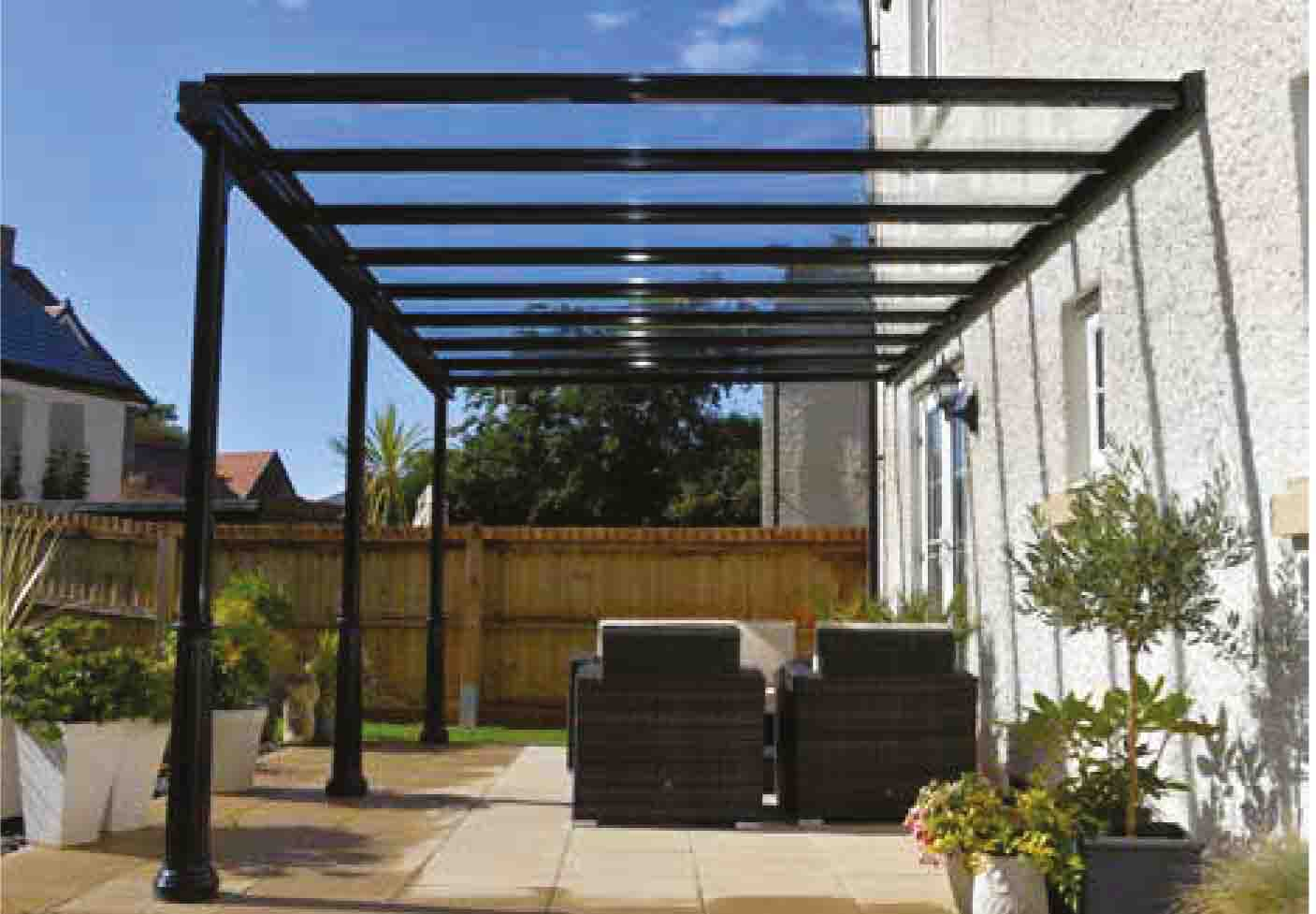 Lean to Glass Roof image from Canopies.ie