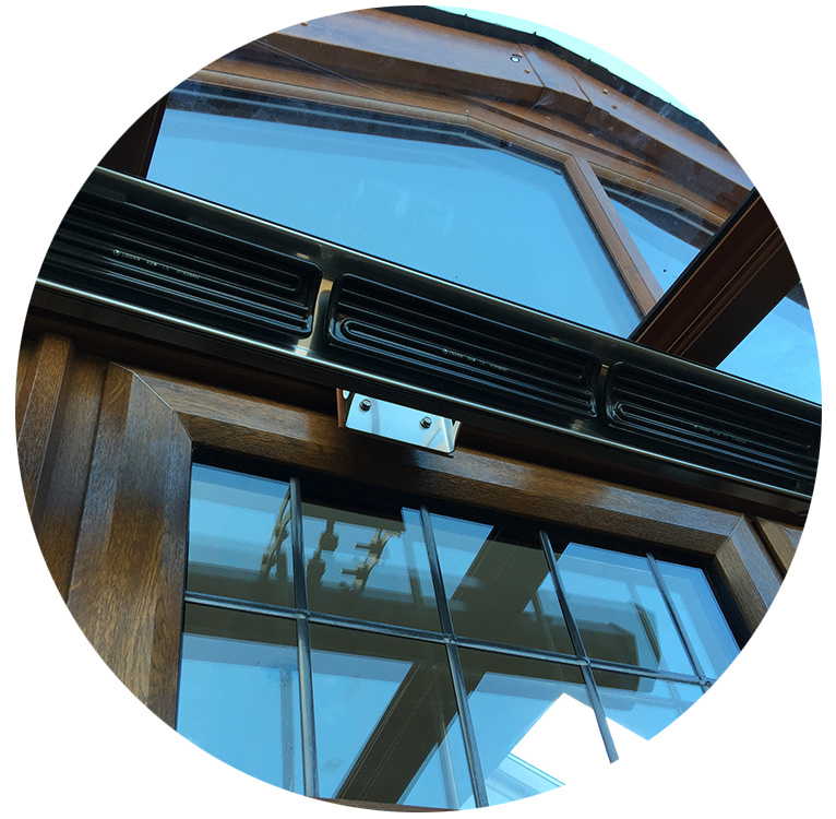 Lean to glass roof heater from Canopies.ie